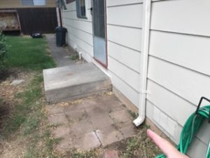 Downspout extension missing